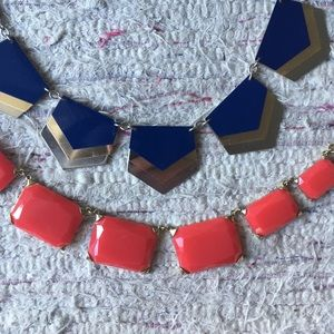 Pair of colorful statement necklaces - blue & pink